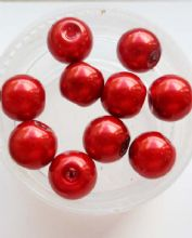 Pearl Glass 8mm bead. Cherry Red x 10